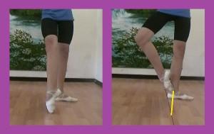 траектория движения носка рабочей ноги в условное Sur le cou-de-pied