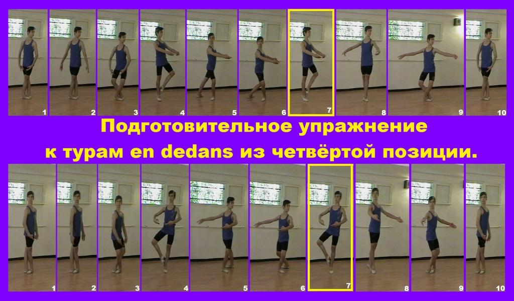 Подготовительное упражнение к турам en dedans из четвёртой позиции.