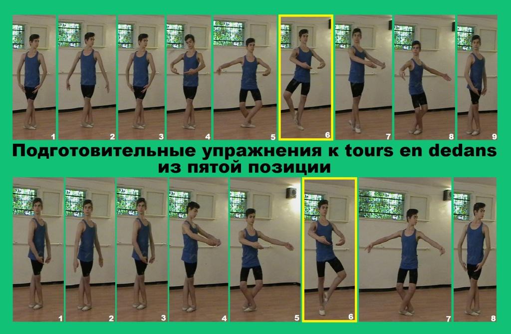 Подготовительные упражнения к tours en dedans из пятой позиции.